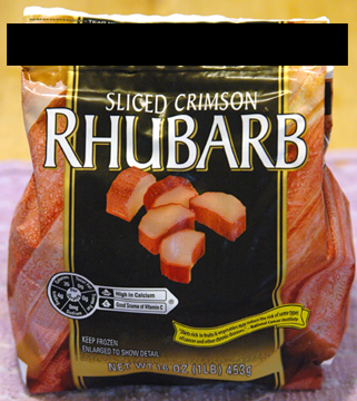 Bag of frozen rhubarb